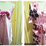 ชุดนอน เช็กซี่ ผ้าลื่น ผ้าซาติน พร้อมเสื้อคลุม สีชมพู ดอกไม้ใหญ่ b003