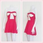 **สินค้าหมด dress2260 เดรสแฟชั่นเกาะอกเสริมฟองน้ำ ผ้าสกินนี่(ยืดได้เยอะ) สีชมพูช็อคกิ้งพิ้งค์