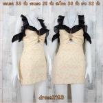 LOT SALE!! Dress2183 เดรสแฟชั่นเปิดไหล่แขนระบายชีฟองดำ ซิปหลัง ผ้ายีนส์สกินนี่ลายดอกไม้วินเทจ โทนสีส้มพาสเทลเหลือง