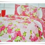 ชุดผ้าปูเตียง ผ้าปูที่นอน Cotton 6 ฟุต 3 ชิ้น ลายกุหลาบใหญ่ B029