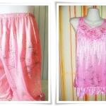 ชุดนอน ผ้าซาติน สีชมพู 101
