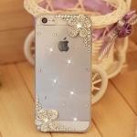 เคส iPhone 4 4s ประดับ คริสตัล ดอกไม้ บนล่าง สีขาว สวยหรู ในราคาถูก สุด ๆ เคสใส ลดราคา no 25209