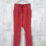 trousers372 กางเกงขายาวผ้าไหมอิตาลีเอวยืด 26-38 นิ้ว ลายตารางสีขาวแดง