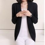 เสื้อไหมพรม ผ้าผสม เสื้อคลุม แขนยาว ผู้หญิง เสื้อ แจ็คเก็ต ใส่ทำงานใน ออฟฟิต กันหนาว สีดำ เสื้อคลุมกันหนาว แบบสวย สไตล์ ผู้บริหาร 456604_1