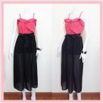 **สินค้าหมด dress2177 แม็กซี่เดรส/เดรสยาวแฟชั่นผ้าไหมอิตาลีระบายอกสีแดงปูน ตัดต่อกระโปรงชีฟองสีดำ
