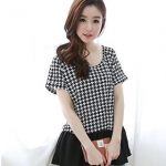 Best N Eve เสื้อ รุ่น Y-09A2 - Black & White Monochrome Houndstooth