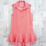 SALE!! dress3423 ชุดเดรสน่ารักคอปกเชิ้ตทรงหางปลา หน้าสั้นหลังยาว ผ้าไหมอิตาลีเนื้อนิ่มลายริ้วเล็ก สีโอลด์โรส