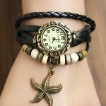 นาฬิกาข้อมือ ผู้หญิง สายหนังถัก สไตล์สร้อยข้อมือ วินเทจ สายหนังสีดำ ร้อยลูกปัด พร้อม ห้อยจี้ รูปปลาดาว ของขวัญเก๋ ๆ ราคาถูก no 9798247_5