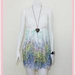 **สินค้าหมด Sale!! dress2007 เดรสแฟชั่นผ้าชีฟองสายเดี่ยวชายกระโปรงลายดอกไม้ สีฟ้า
