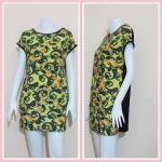 **สินค้าหมด dress2602 เดรสแฟชั่นไซส์ใหญ่แขนในตัวด้านหลังสีดำ ผ้ายืดลายไทยโทนสีเขียวเหลือง