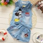 ชุดยีนส์ เด็กผู้หญิง อายุ 6 - 24 เดือน เสื้อยีนส์ แขนกุด กางเกงยีนส์ ขาสั้น ลายการ์ตูน ชุดเด็กผู้หญิง น่ารัก ๆ ใส่เที่ยว หน้าร้อน 340572