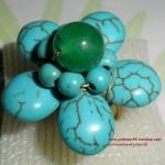 (ขายแล้วค่ะ) V009 แหวนเทอร์คอยส์ รูปดอกไม้ประดับหินอาเกต