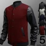 แจ็คเก็ตหนัง ผสม ผ้า Cotton Jacket สำหรับนักแข่งมอเตอร์ไซค์ ดีไซน์ ส่วนแขนเป็นหนัง เสื้อคลุมผู้ชายแขนยาว เท่ ๆ สีแดง no 18945_4