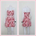 **สินค้าหมด dress2239 เดรสแฟชั่นเกาะอกเสริมฟองน้ำบาง ซิปหลัง เว้าเอว ผ้าฮานาโกะลายแตงโมใหญ่ สีขาว