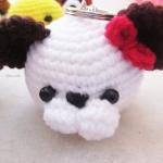 พวงกุญแจหัวตุ๊กตา สูง 2 นิ้ว amigurumi crochet keychain