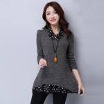 ชุดเดรสคนอ้วนเกาหลี Large size women t-shirt shirt female