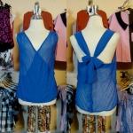 **สินค้าหมด Sale!! blouse1571 เสื้อแฟชั่นผ้าชีฟอง คอวีป้าย ผูกโบว์หลัง สีน้ำเงิน รอบอก 36 นิ้ว