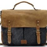 กระเป๋าสะพายข้าง กระเป๋าใส่เอกสาร ผู้ชาย ใบใหญ่ ผ้าแคนวาส ฝาปิด หนังแท้ โชว์ลายหนัง วัสดุอย่างดี ทนทาน สีเทา ฟ้า ดำ 319851