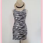 **สินค้าหมด dress2094 เดรสแฟชั่นงานแพลตตินั่มผ้ายืดเนื้อดี แขนกุด ลายม้าลายโทนสีขาวดำ รอบอก 36 นิ้ว