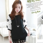 Best N Eve เสื้อ รุ่น Y-56B1 - Black Top with Flower