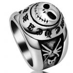 แหวนผู้ชาย แหวน 316L Stainless Steel รูปหัวกะโหลก Dead rock แหวนเงิน แกะรูปหัวกะโหลก สวย ๆ 431547