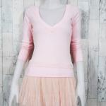 blouse1716 เสื้อคลุมแฟชั่นแบบสวม แขนยาว เอวจัมพ์ ผ้ายืดเนื้อดีสีชมพูพาสเทล