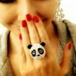 พร้อมส่ง **แหวนรูปหมีแพนด้า ประดับเพชร