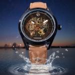 นาฬิกาข้อมือ โชว์กลไก Mechanical watch สายหนังแท้ สีน้ำตาล แบบวัยรุ่น หน้าปัดกันรอย แบบสวย ดีไซน์เท่ 352378