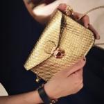 พร้อมส่ง กระเป๋าสะพาย ใบเล็ก สีทอง ทรงสวย
