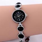 นาฬิกาสร้อยข้อมือ ผู้หญิง คริสตัลสีดำ สายลายหัวใจ ของขวัญสุดเก๋ no 85691