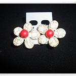 ต่างหู เทอร์ควอยซ์ สังเคราะห์ สีขาว เกสรแดง รูปดอกไม้