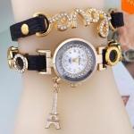 นาฬิกาข้อมือผู้หญิง สายหนัง ห้อย ตุ้งติ้ง หอไอเฟล ประดับ อักษร Love ฝังคริสตัล เพชร สีดำ no  3851049