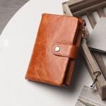 กระเป๋าสตางค์ผู้หญิง ใบสั้น กระเป๋าสตางค์ หนังแท้ ลง Oil wax แบบซิปด้านนอก มีกระดุมปิด ใส่บัตร ใส่เงินได้เยอะ ยิ่งใช้ยิ่งสวย ทนทาน 621724