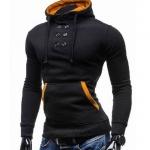 เสื้อ แจ็คเก็ต ผู้ชายแขนยาว แบบสวม เสื้อใส่กันหนาว ผู้ชาย ดีไซน์ กระดุม สามารถปิดได้ถึง ต้นคอ สีดำ เสื้อหมวก แบบมีดีไซน์ เท่ ๆ 114161