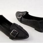 รองเท้าหุ้มส้น ผู้หญิง รองเท้าหนังแท้ ใส่เที่ยว ดีไซน์ สไตล์ รองเท้า บัลเล่ต์ ออกแบบเป็นเข็มขัดด้านหน้า แนวสาวคาวบอย น่ารักสุด ๆ สีดำ 361423