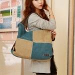 กระเป๋าสะพายข้างผู้หญิง ใส่ของไปเรียน กระเป๋าใส่ของไปทำงาน จุของได้เยอะ ใช้เป็น กระเป๋าใส่เสื้อผ้า ไปสปอร์ตคลับ ได้ สีฟ้า 4064536
