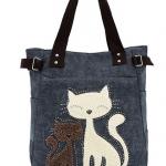 กระเป๋าสำหรับคนรักแมว กระเป๋าถือ ผ้า Canvas อย่างดี ดีไซน์ รูปแมวคู่ น่ารักสุด ๆ กระเป๋าสะพายข้าง ผู้หญิง ลายแมว สีน้ำเงิน 107424_2