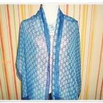 ผ้าพันคอ ผ้าคลุมไหล่ โทนสีฟ้า เนื้อซีฟอง L004