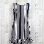 SALE!! dress3508 ชุดเดรสน่ารัก แต่งโบว์ด้านหลัง ชายระบาย ผ้าไหมอิตาลีเนื้อนิ่มลายริ้ว สีกรมท่า
