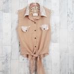 Blouse1693 เสื้อแฟชั่นคอปกเชิ้ตลูกไม้ ผูกเอว ผ้าฮานาโกะสีเบจ