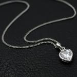 สร้อยคอแฟชั่นชุบทองคำขาว18Kจี้รูปหัวใจ