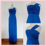 **สินค้าหมด dress2078 แม็กซี่เดรสยาว/เดรสออกงานแฟชั่นแพลตตินั่มผ้าเนื้อดี แขนกุดบ่าเดียว จับจีบอก สีน้ำเงิน รอบอก 36 นิ้ว สะโพกฟรีไซส์