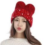 หมวกแฟชั่นไหมพรม หมวกไหมถัก หมวกถัก เก๋ ๆ มีหูกระต่าย ติดมุก น่ารัก หมวกไหมพรม สีแดง สีขาว สีดำ สีครีม 998401