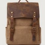 กระเป๋าสะพายหลัง กระเป๋าเป้ หนังม้า แท้ ผสม ผ้า canvas ดีไซน์ หรู กระเป๋าเป้ สไตล์วินเทจ สีน้ำตาล สินค้านำเข้า no 96217_2