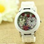 นาฬิกาข้อมือผู้หญิง diy นาฬิกาข้อมือ 3 มิติ แต่ง ดิสเพลย์ ไอคอน กระต่ายน้อย สุดแสนน่ารัก ในสวน ดอกไม้ สวย ๆ สายซิลิโคน สีขาว 297828