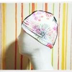 หมวกว่ายน้ำ แฟชั่น สีครีม ดอกไม้ ชมพู หวาน ๆ ราคาถูก no sc008