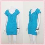 **สินค้าหมด dress2037 เดรสแฟชั่นผ้ายืดคอโบว์ แขนสั้น สีฟ้าน้ำทะเล