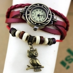 นาฬิกาข้อมือ ผู้หญิง สายหนังถัก สไตล์สร้อยข้อมือ วินเทจ สีแดง ห้อย นกฮูก