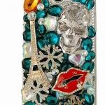 เคสโทรศัพท์ เคส Samsung Galaxy Note 2 N7100 เคส Hand made 3 D ติดคริสตัล หัวกะโหลกใส เคสแบบ ร็อค ๆ แบบเท่ ติดหอไอเฟล 749655