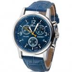 นาฬิกาข้อมือ ผู้ชาย สายหนัง ลายหนัง จรเข้ สีฟ้า นาฬิกาข้อมือสายหนัง แนว Sport สีสวย ของขวัญให้แฟน แบบเท่ ๆ 478442